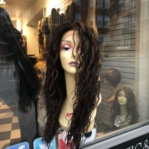 Fulllace Brown highlight long curly wig full lace